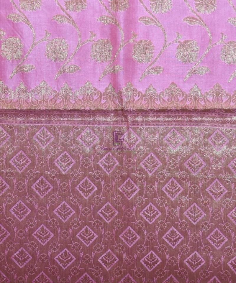 Woven Pure Tussar Silk Banarasi Saree in Taffy Pink 3