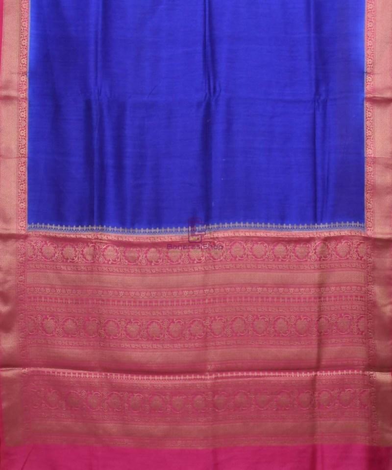 Woven Pure Muga Silk Banarasi Saree in Navy Blue 1
