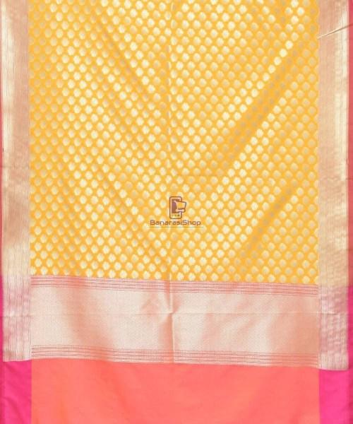 Woven Banarasi Art Silk Dupatta in Golden Yellow 3
