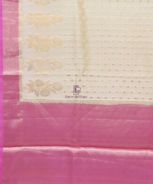 Pure Silk Banarasi Dupion Katan Handloom Saree in Off White 5