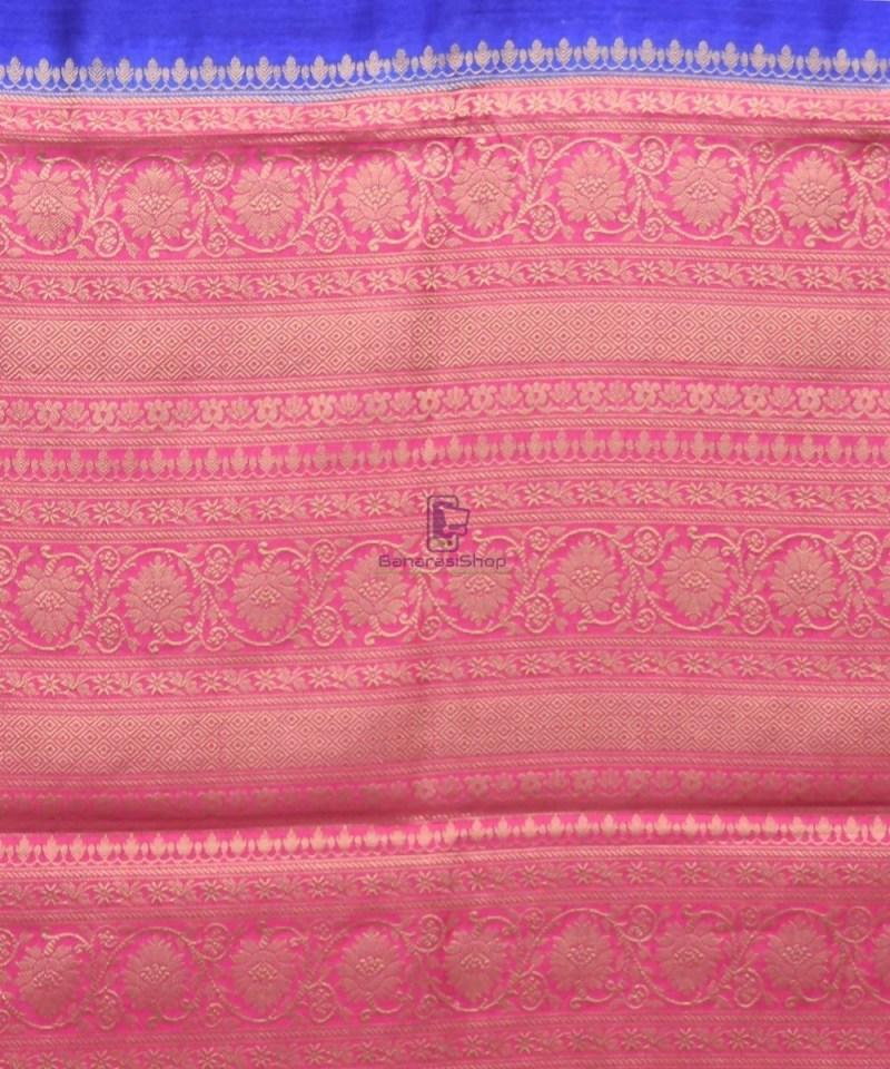 Woven Pure Muga Silk Banarasi Saree in Navy Blue 3