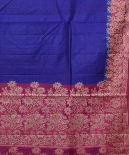 Woven Pure Tussar Silk Banarasi Saree in Royal Blue 5
