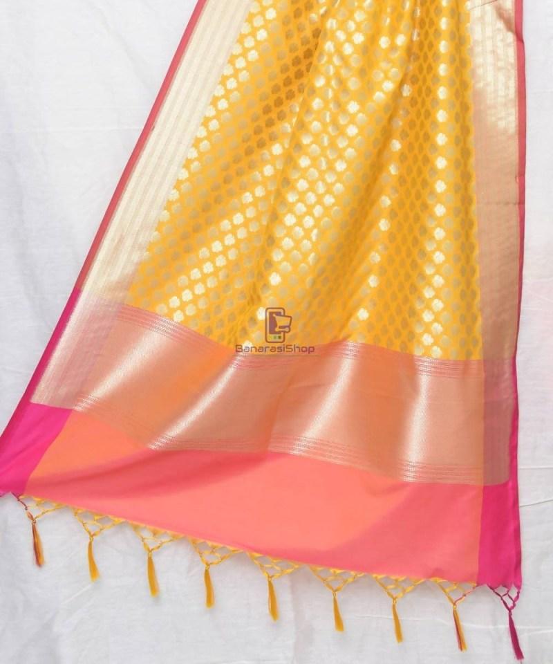 Woven Banarasi Art Silk Dupatta in Golden Yellow 1