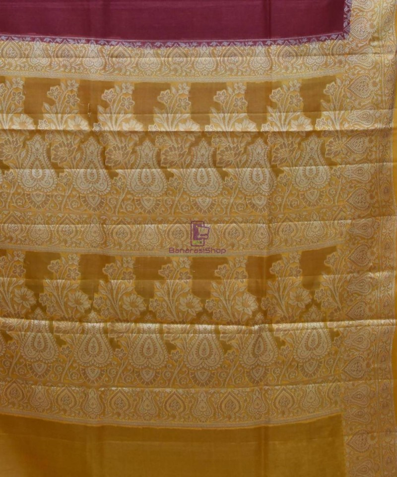 Woven Pure Tussar Silk Banarasi Saree in Dark Mauve 3