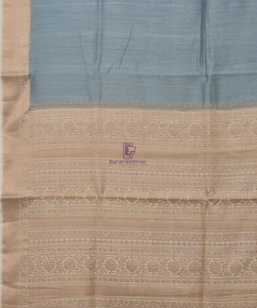Woven Pure Muga Silk Banarasi Saree in Stone Blue 5