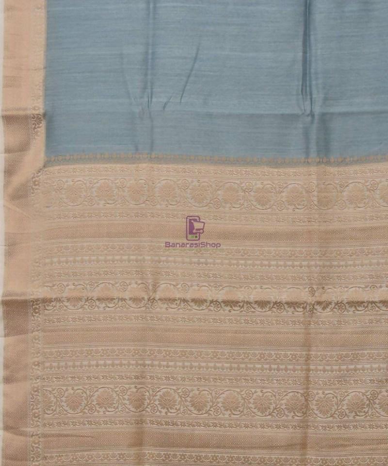 Woven Pure Muga Silk Banarasi Saree in Stone Blue 2