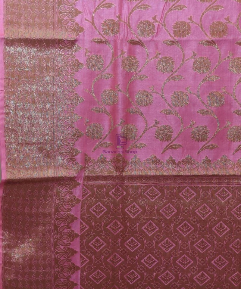 Woven Pure Tussar Silk Banarasi Saree in Taffy Pink 2