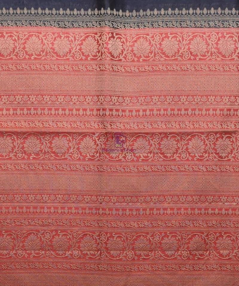 Woven Pure Muga Silk Banarasi Saree in Black 3