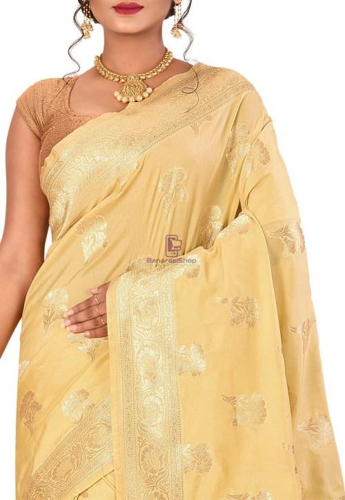 Banarasi Saree in Beige 4