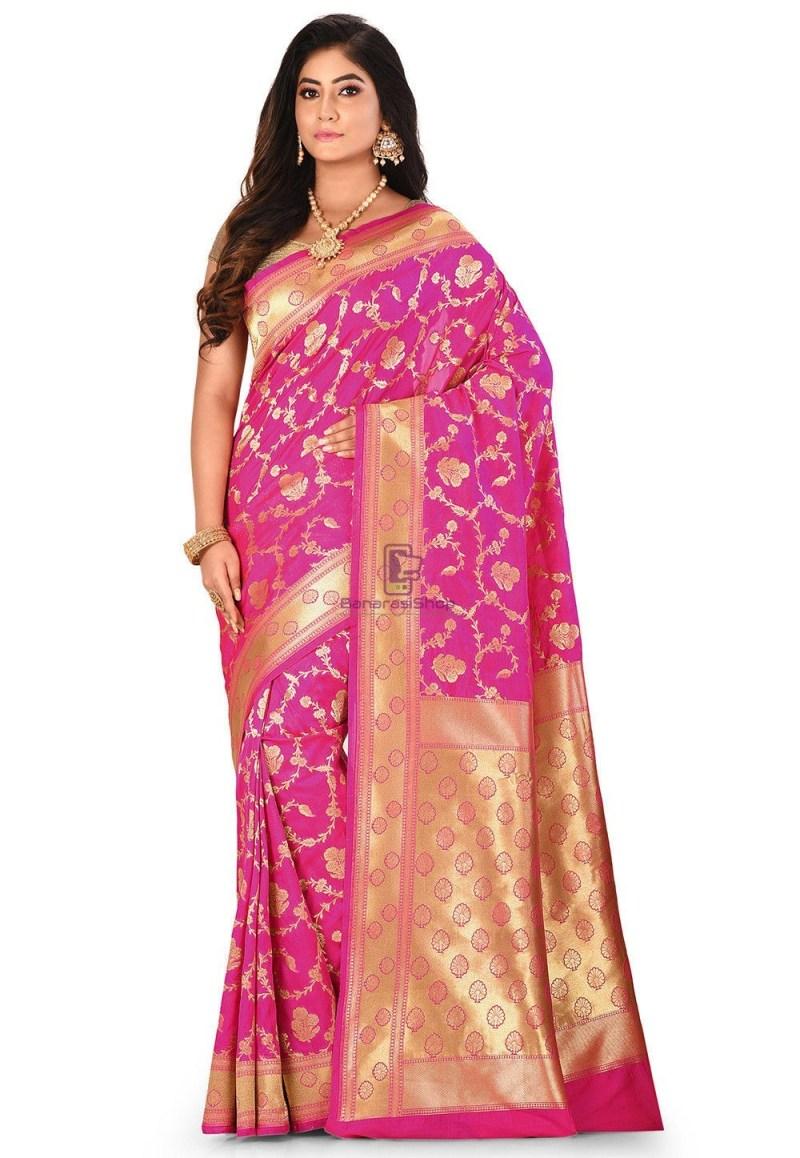 Banarasi Saree in Fuchsia 1