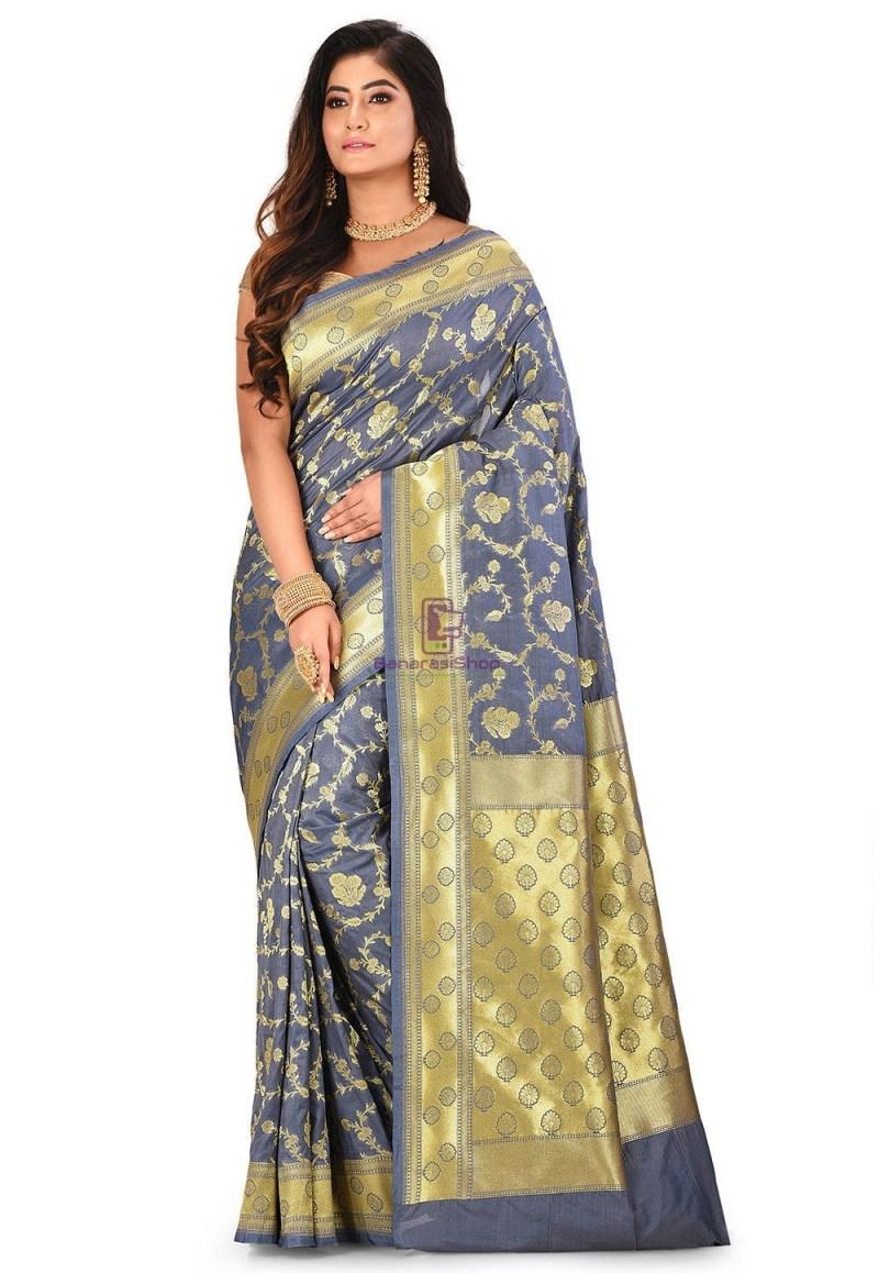 Banarasi Saree in Grey 1