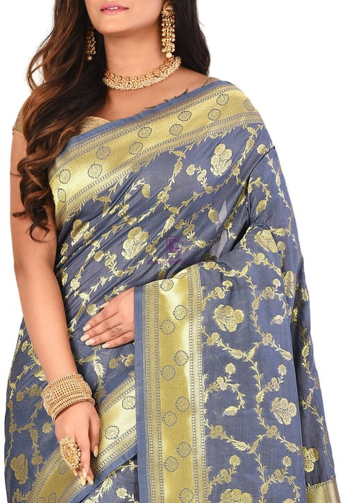 Banarasi Saree in Grey 5