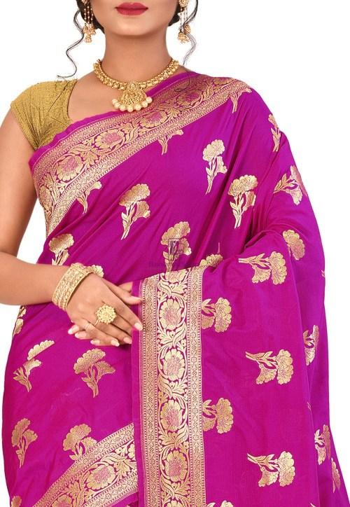 Banarasi Saree in Magenta 5