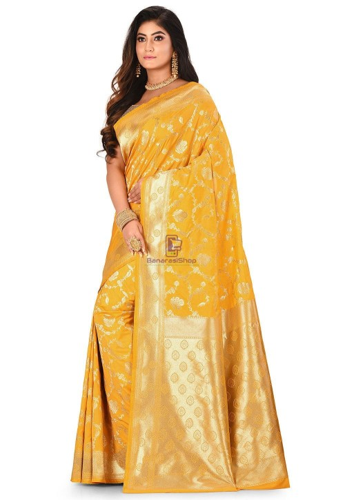 Banarasi Saree in Mustard 7
