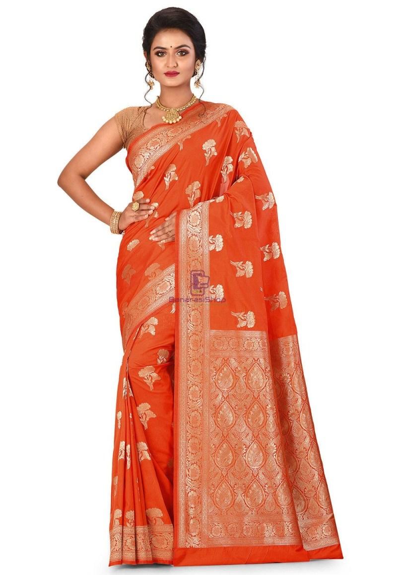 Banarasi Saree in Orange 1