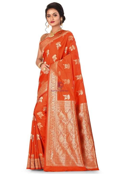 Banarasi Saree in Orange 7