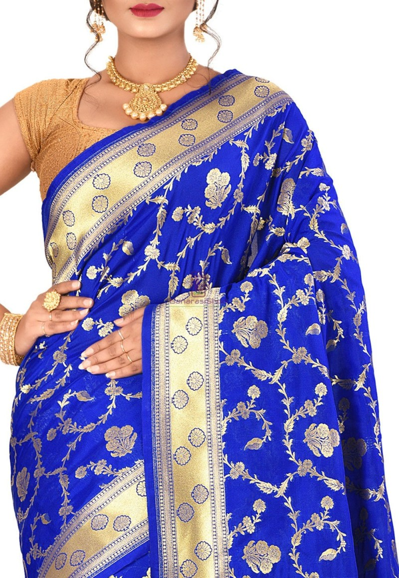 Banarasi Saree in Royal Blue 2
