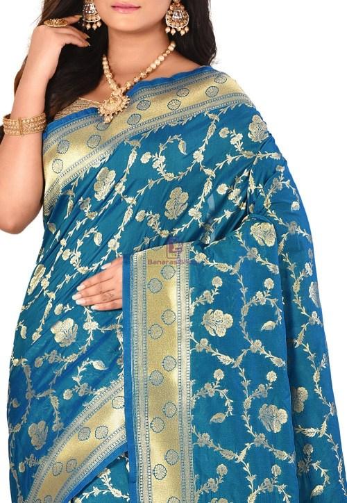 Banarasi Saree in Teal Blue 5