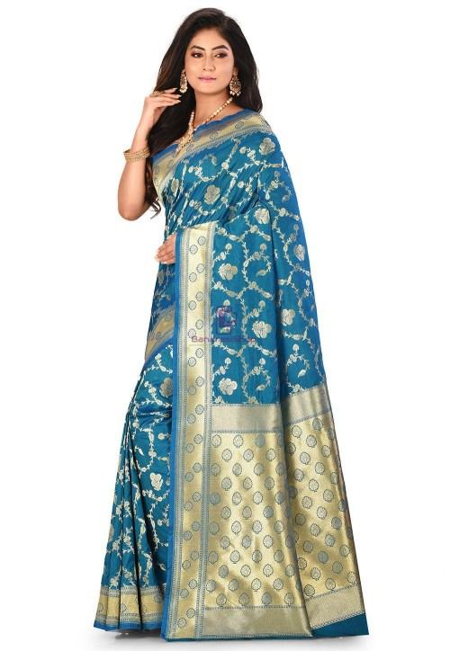 Banarasi Saree in Teal Blue 7