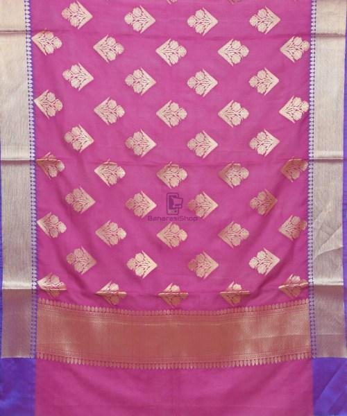 Woven Banarasi Art Silk Banarasi Dupatta in Purple Pink 3