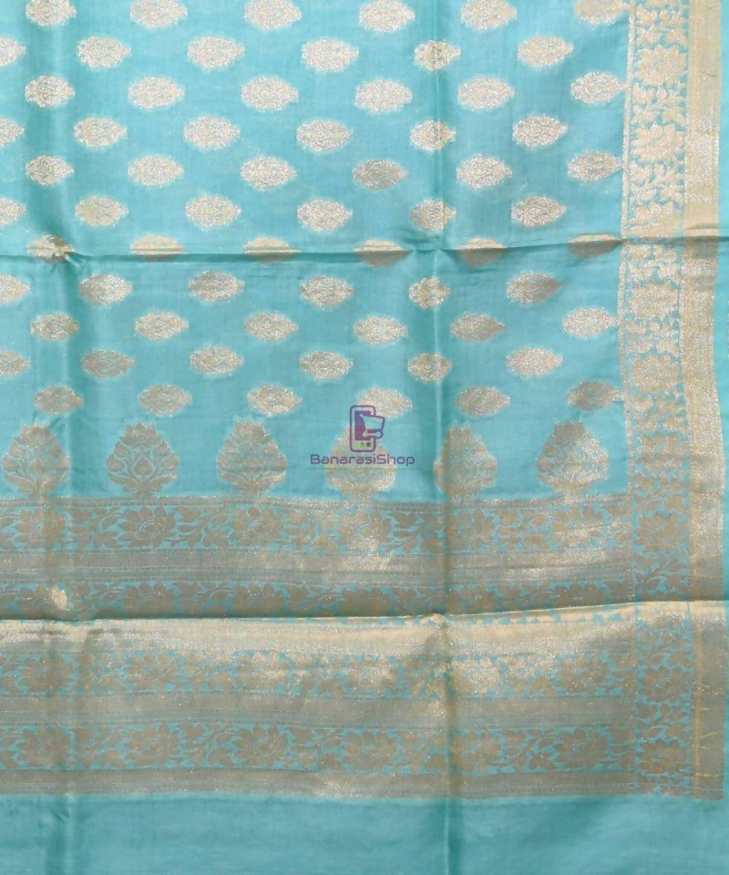 Woven Pure Tussar Silk Banarasi Saree in Sky Blue 2