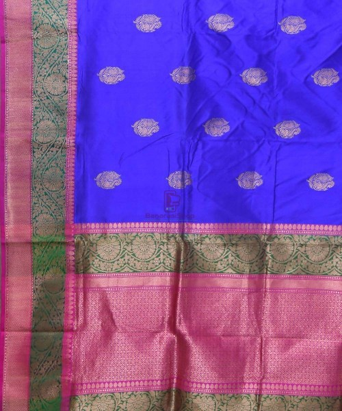 Banarasi Pure Katan Silk Handloom Navy Blue Saree 5