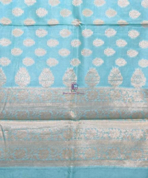Woven Pure Tussar Silk Banarasi Saree in Sky Blue 6
