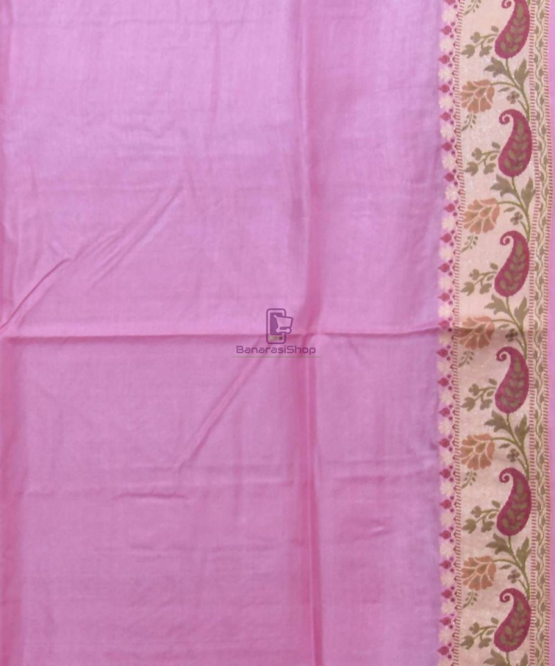 Woven Pure Tussar Silk Banarasi Saree in Lilac Purple 4