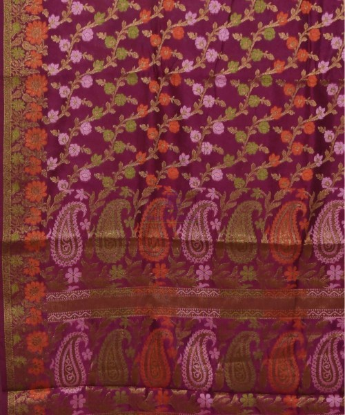 Pure Silk Banarasi Dupion Katan Handloom Saree in Wine Purple 5