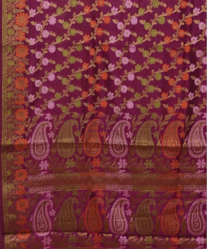 Pure Silk Banarasi Dupion Katan Handloom Saree in Wine Purple 2