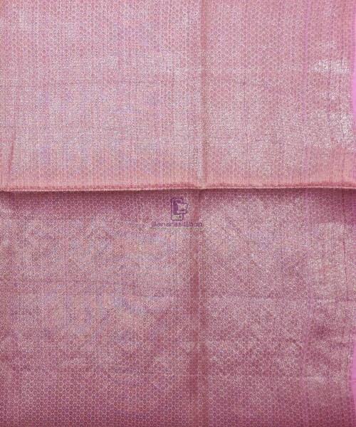 Woven Pure Tussar Silk Banarasi Saree in Taffy Pink 7