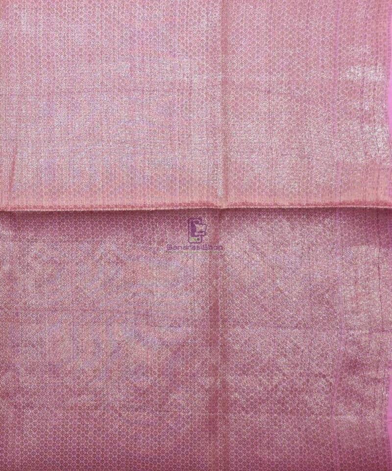 Woven Pure Tussar Silk Banarasi Saree in Taffy Pink 4
