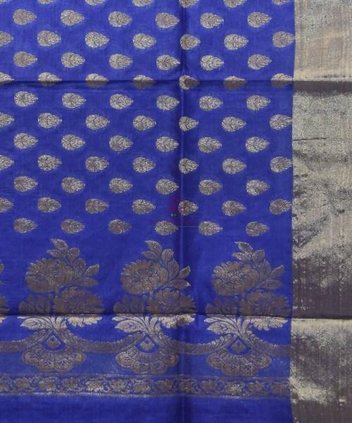 Woven Pure Tussar Silk Banarasi Saree in Azure Blue 5
