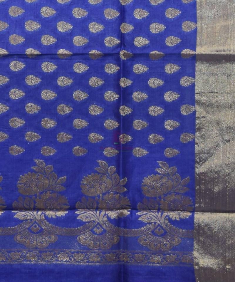 Woven Pure Tussar Silk Banarasi Saree in Azure Blue 2