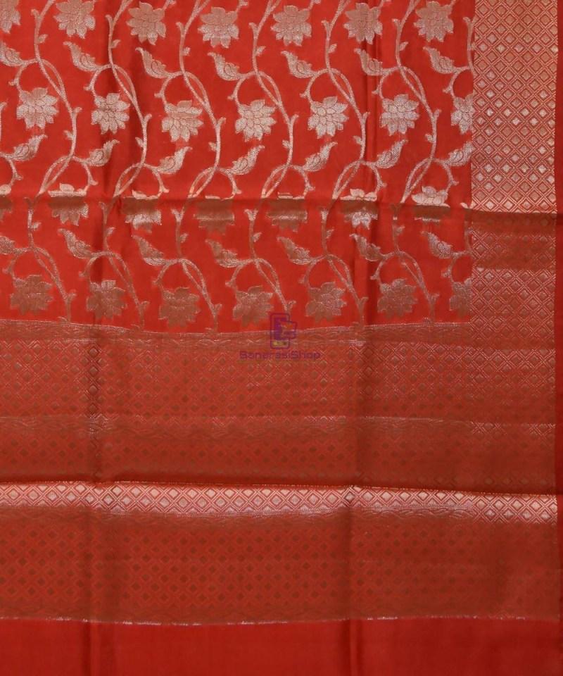 Pure Silk Banarasi Dupion Katan Handloom Saree in Rust Orange 2