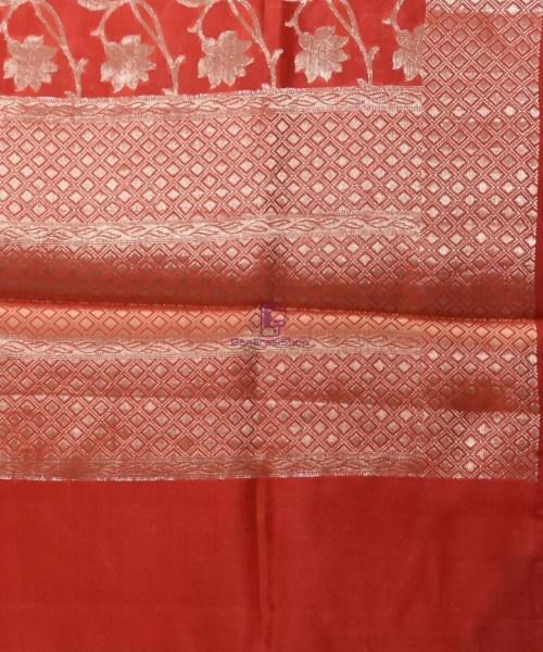 Pure Silk Banarasi Dupion Katan Handloom Saree in Rust Orange 6