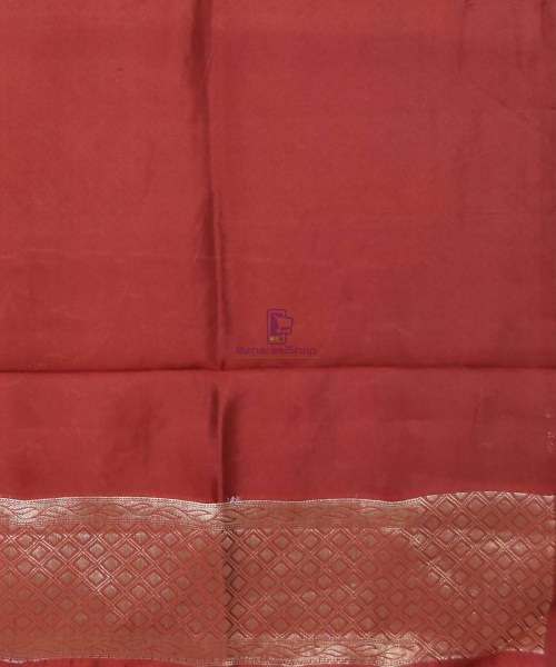 Pure Silk Banarasi Dupion Katan Handloom Saree in Rosewood 7