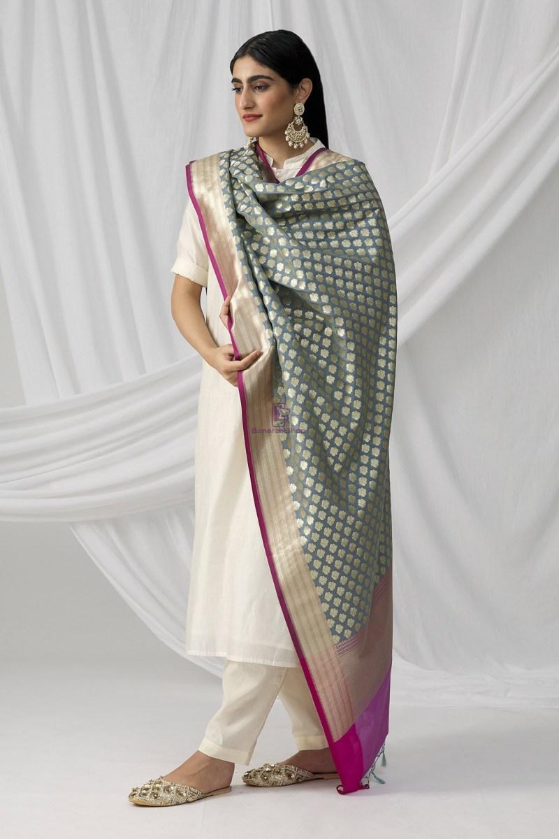 Woven Banarasi Art Silk Dupatta in Grey 1