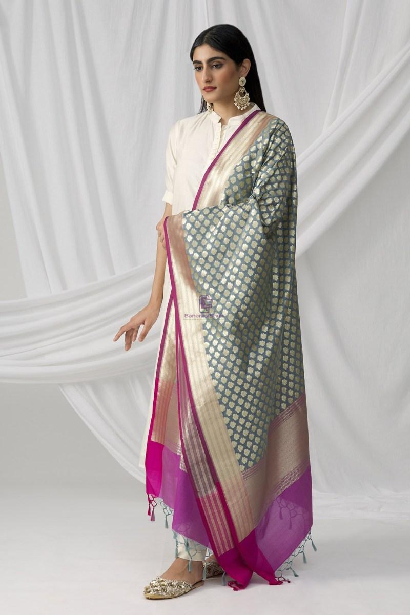 Woven Banarasi Art Silk Dupatta in Grey 3
