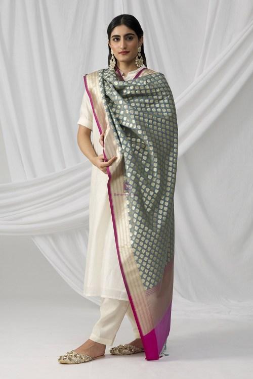 Woven Banarasi Art Silk Dupatta in Grey 8