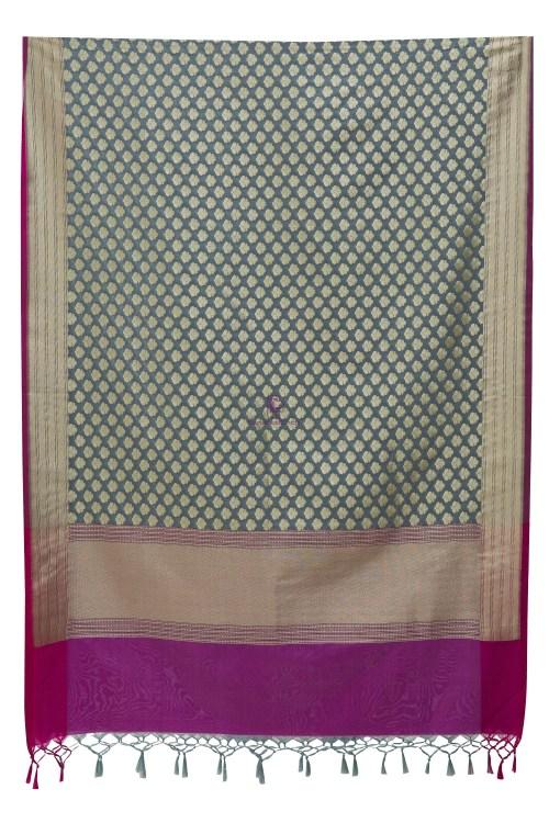 Woven Banarasi Art Silk Dupatta in Grey 9