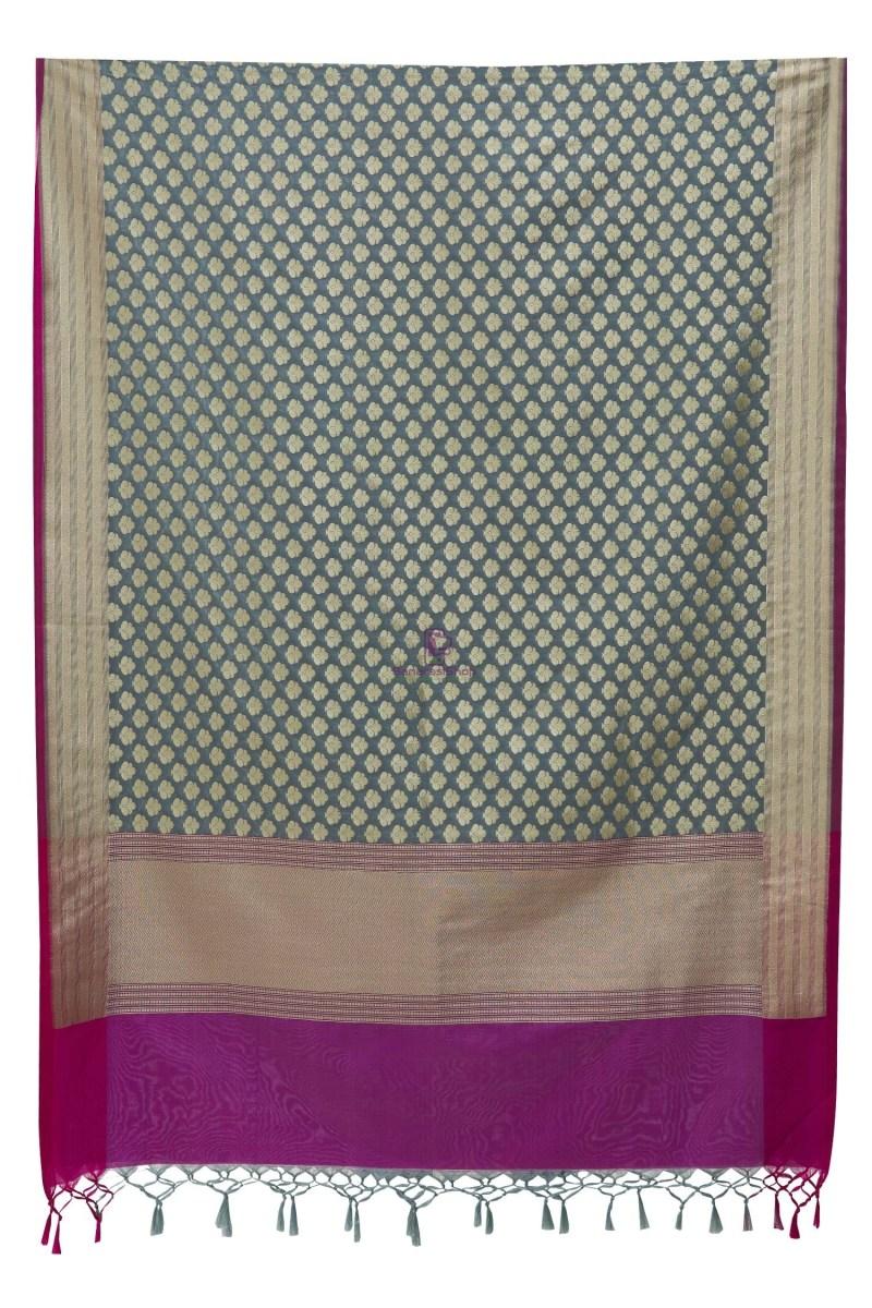 Woven Banarasi Art Silk Dupatta in Grey 5