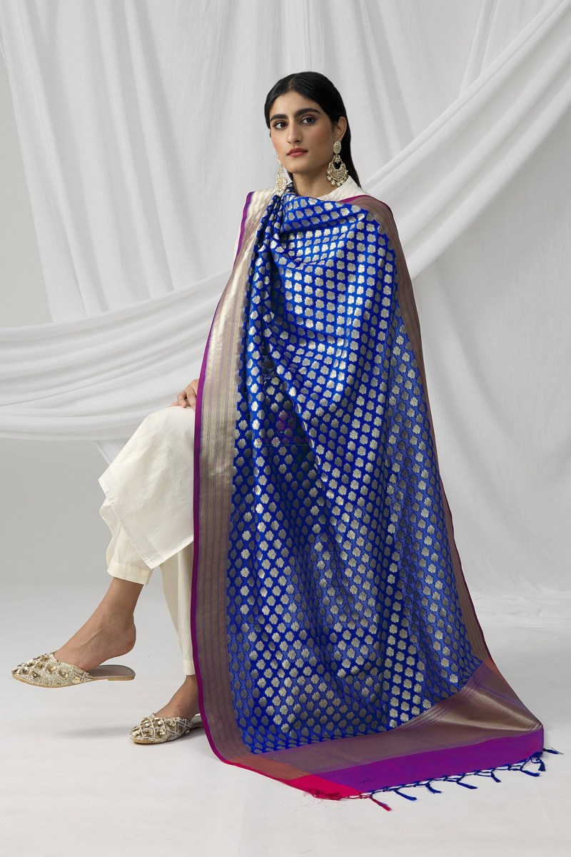Woven Banarasi Art Silk Dupatta in Royal Blue 2