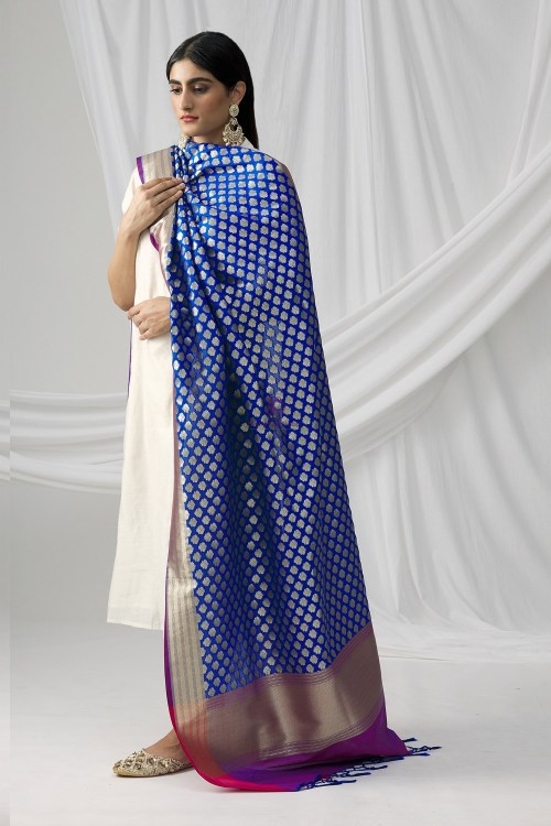 Woven Banarasi Art Silk Dupatta in Royal Blue 8