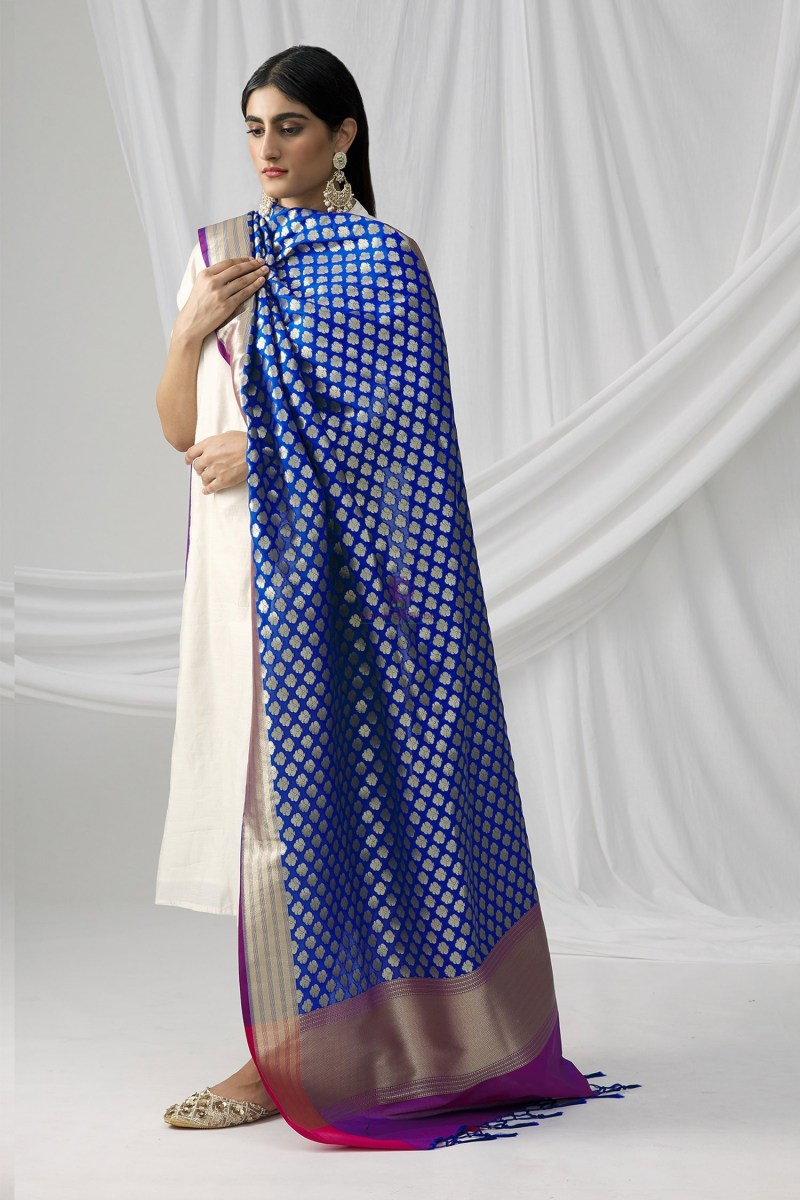 Woven Banarasi Art Silk Dupatta in Royal Blue 4