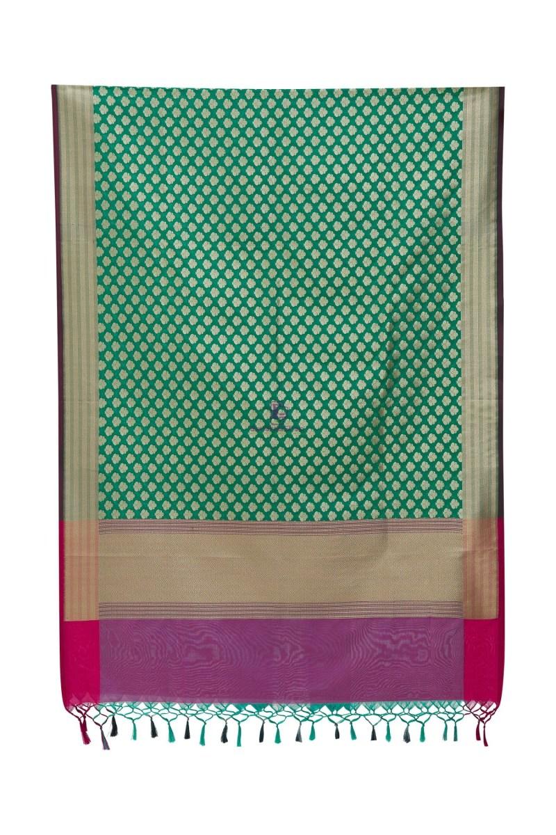 Woven Banarasi Art Silk Dupatta in Turquoise 4