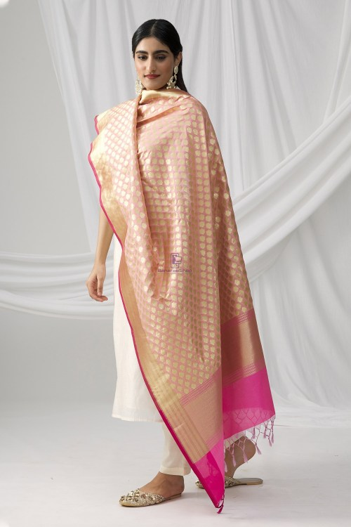 Woven Banarasi Art Silk Dupatta in Pink 6