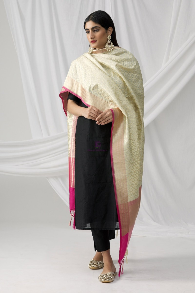 Woven Banarasi Art Silk Dupatta in Beige 1
