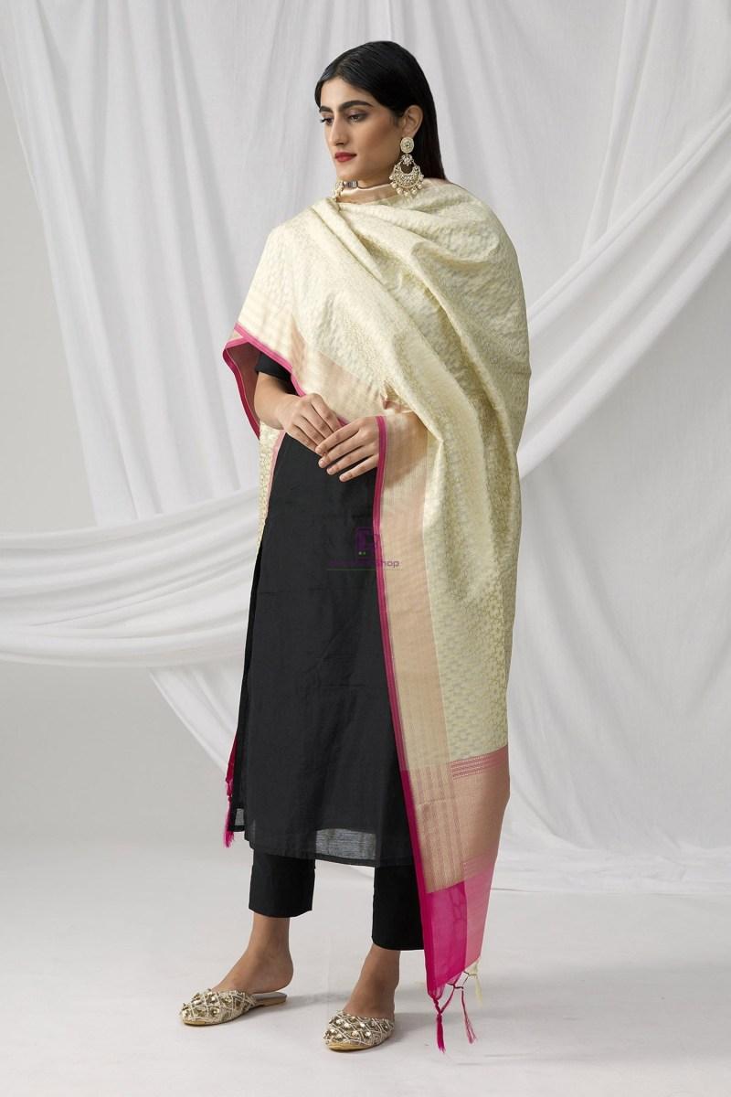 Woven Banarasi Art Silk Dupatta in Beige 2