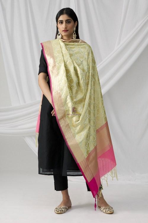 Woven Banarasi Art Silk Dupatta in Beige 6